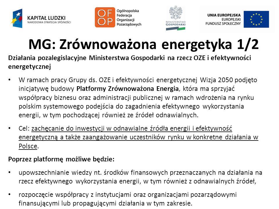 MG: Zrównoważona energetyka 1/2 Działania pozalegislacyjne Ministerstwa Gospodarki na rzecz OZE i efektywności energetycznej W ramach pracy Grupy ds.