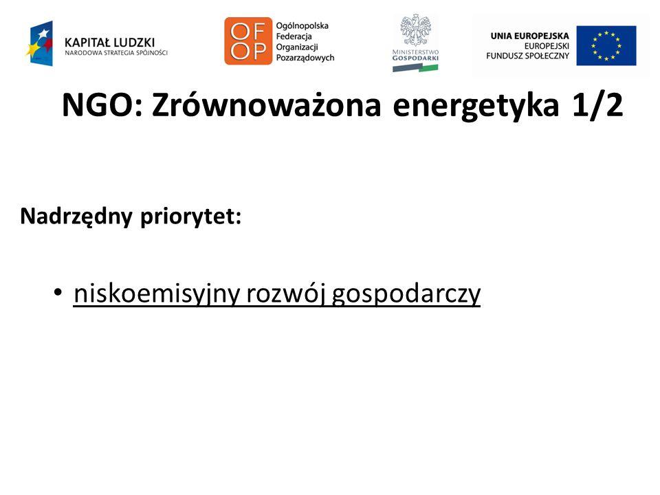 NGO: Zrównoważona energetyka 1/2 Nadrzędny priorytet: niskoemisyjny rozwój gospodarczy