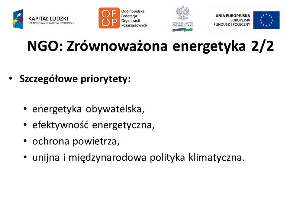NGO: Zrównoważona energetyka 2/2 Szczegółowe priorytety: energetyka obywatelska, efektywność energetyczna, ochrona powietrza, unijna i międzynarodowa