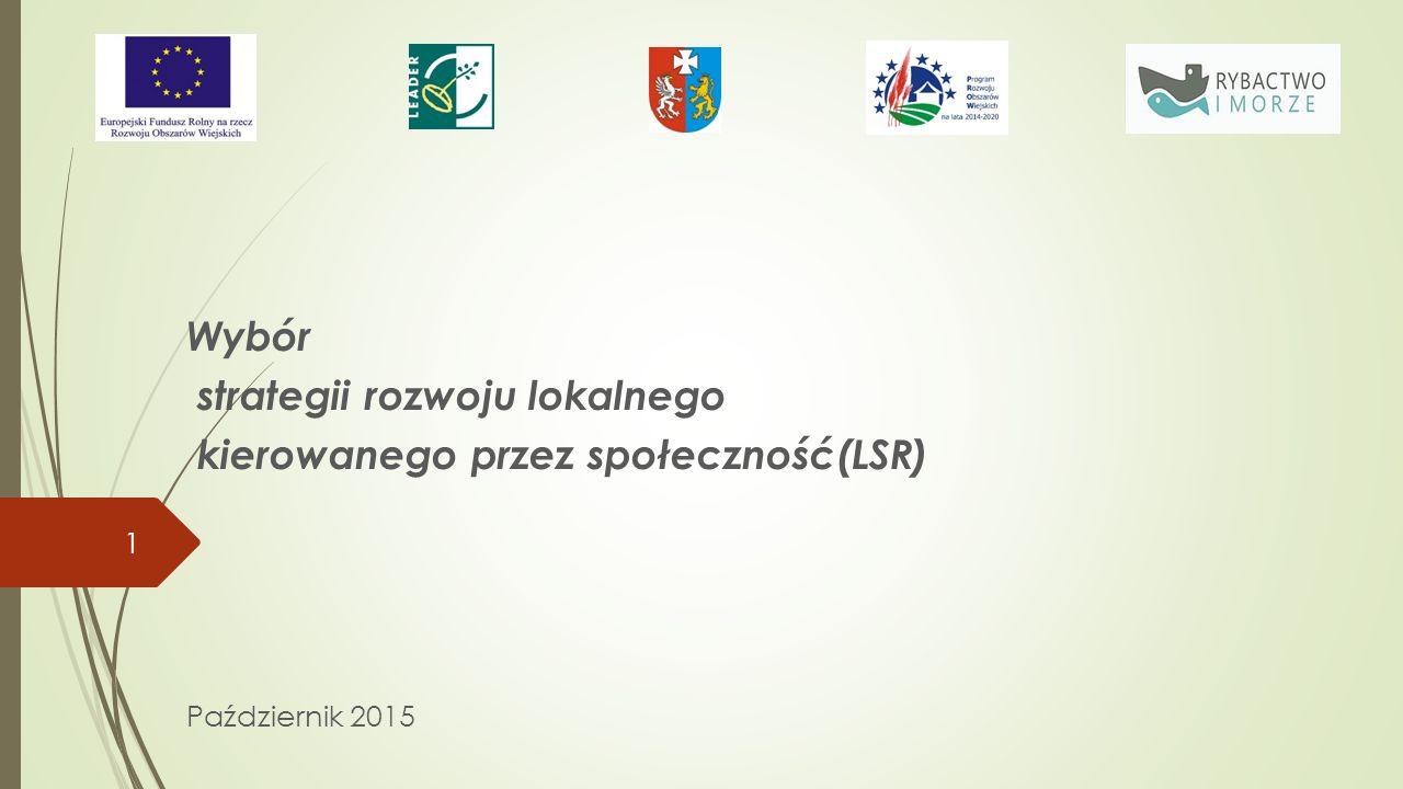 Wybór strategii rozwoju lokalnego kierowanego przez społeczność(LSR) Październik 2015 1