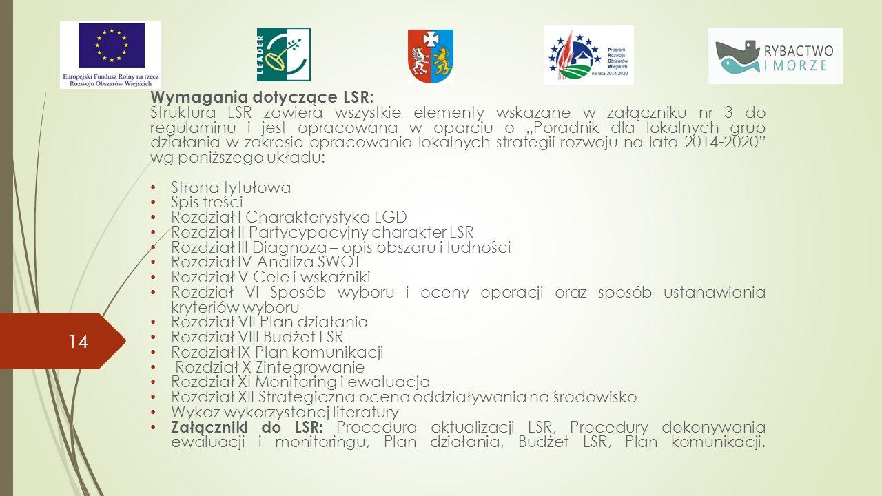"""Wymagania dotyczące LSR: Struktura LSR zawiera wszystkie elementy wskazane w załączniku nr 3 do regulaminu i jest opracowana w oparciu o """"Poradnik dla lokalnych grup działania w zakresie opracowania lokalnych strategii rozwoju na lata 2014-2020 wg poniższego układu: Strona tytułowa Spis treści Rozdział I Charakterystyka LGD Rozdział II Partycypacyjny charakter LSR Rozdział III Diagnoza – opis obszaru i ludności Rozdział IV Analiza SWOT Rozdział V Cele i wskaźniki Rozdział VI Sposób wyboru i oceny operacji oraz sposób ustanawiania kryteriów wyboru Rozdział VII Plan działania Rozdział VIII Budżet LSR Rozdział IX Plan komunikacji Rozdział X Zintegrowanie Rozdział XI Monitoring i ewaluacja Rozdział XII Strategiczna ocena oddziaływania na środowisko Wykaz wykorzystanej literatury Załączniki do LSR: Procedura aktualizacji LSR, Procedury dokonywania ewaluacji i monitoringu, Plan działania, Budżet LSR, Plan komunikacji."""