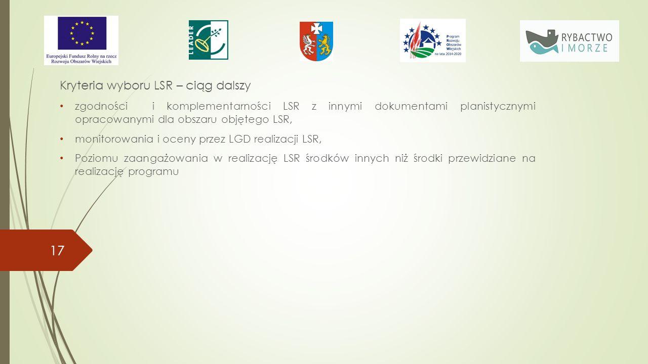 Kryteria wyboru LSR – ciąg dalszy zgodności i komplementarności LSR z innymi dokumentami planistycznymi opracowanymi dla obszaru objętego LSR, monitorowania i oceny przez LGD realizacji LSR, Poziomu zaangażowania w realizację LSR środków innych niż środki przewidziane na realizację programu 17