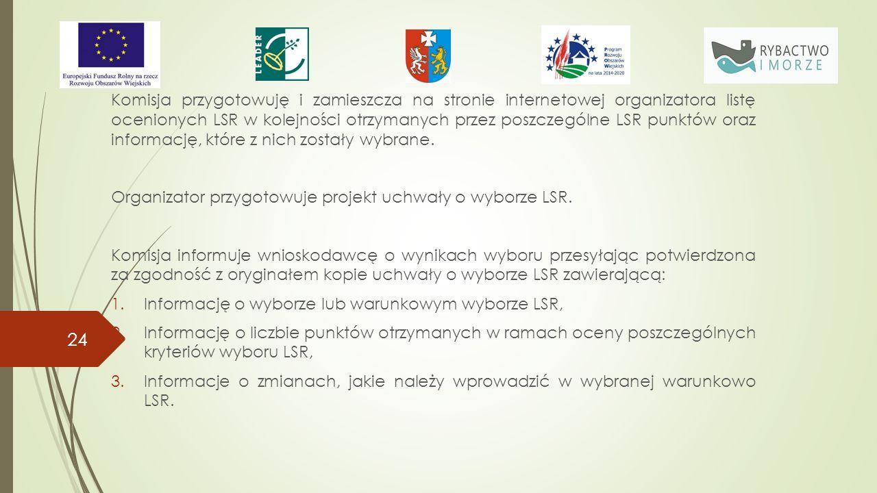 Komisja przygotowuję i zamieszcza na stronie internetowej organizatora listę ocenionych LSR w kolejności otrzymanych przez poszczególne LSR punktów oraz informację, które z nich zostały wybrane.