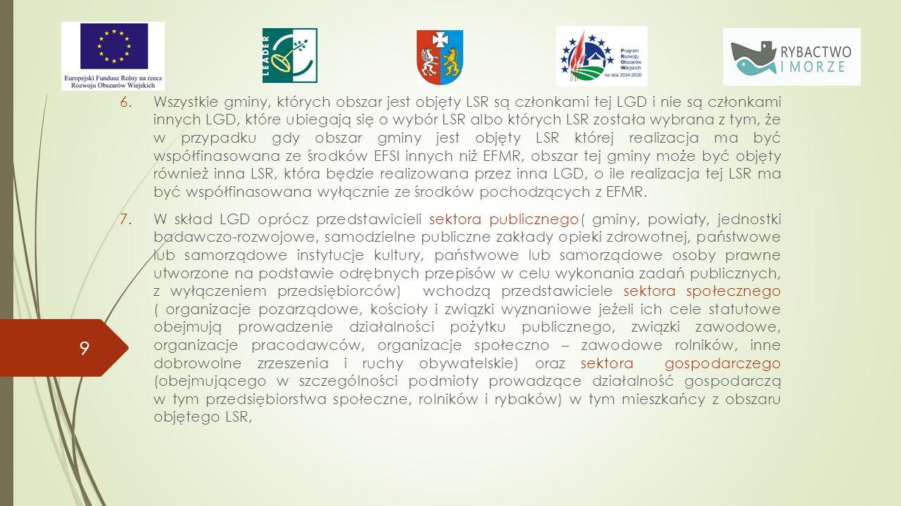 6.Wszystkie gminy, których obszar jest objęty LSR są członkami tej LGD i nie są członkami innych LGD, które ubiegają się o wybór LSR albo których LSR została wybrana z tym, że w przypadku gdy obszar gminy jest objęty LSR której realizacja ma być współfinasowana ze środków EFSI innych niż EFMR, obszar tej gminy może być objęty również inna LSR, która będzie realizowana przez inna LGD, o ile realizacja tej LSR ma być współfinasowana wyłącznie ze środków pochodzących z EFMR.