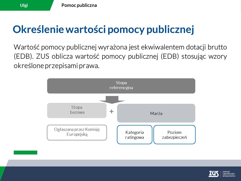 Określenie wartości pomocy publicznej Wartość pomocy publicznej wyrażona jest ekwiwalentem dotacji brutto (EDB). ZUS oblicza wartość pomocy publicznej