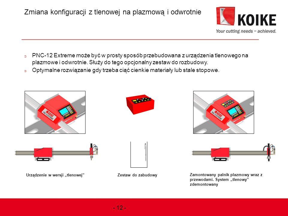 Zmiana konfiguracji z tlenowej na plazmową i odwrotnie  PNC-12 Extreme może być w prosty sposób przebudowana z urządzenia tlenowego na plazmowe i odw