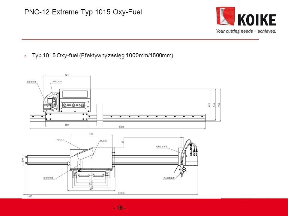 PNC-12 Extreme Typ 1015 Oxy-Fuel  Typ 1015 Oxy-fuel (Efektywny zasięg 1000mm/1500mm) - 16 -
