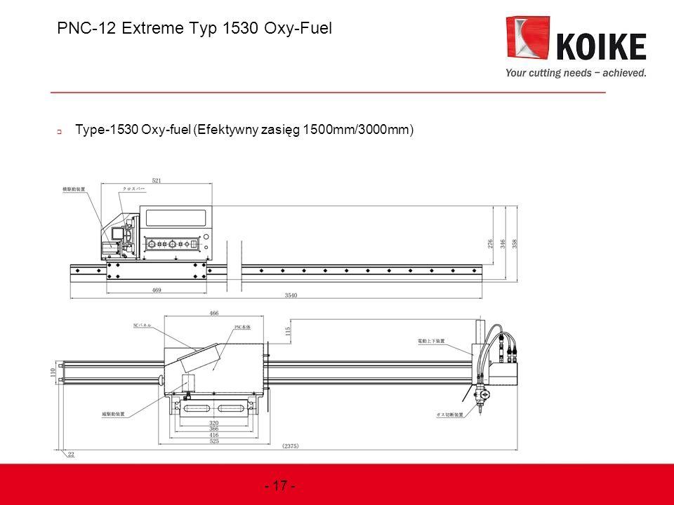 PNC-12 Extreme Typ 1530 Oxy-Fuel  Type-1530 Oxy-fuel (Efektywny zasięg 1500mm/3000mm) - 17 -