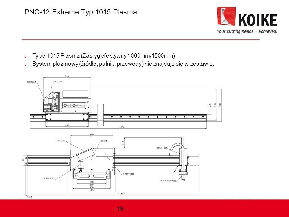 PNC-12 Extreme Typ 1015 Plasma  Type-1015 Plasma (Zasięg efektywny 1000mm/1500mm)  System plazmowy (źródło, palnik, przewody) nie znajduje się w zes