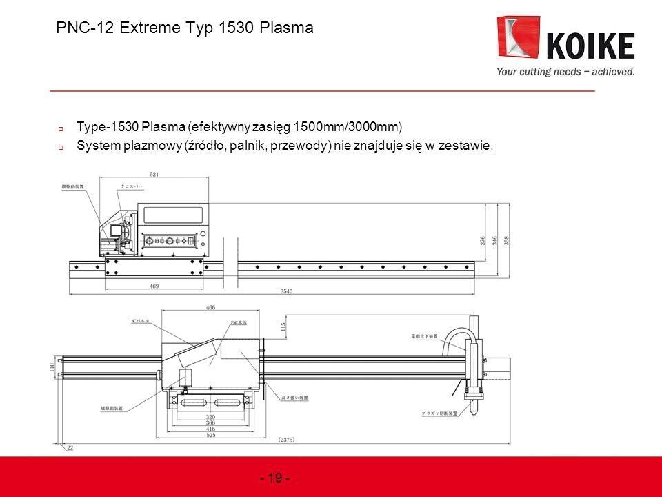PNC-12 Extreme Typ 1530 Plasma  Type-1530 Plasma (efektywny zasięg 1500mm/3000mm)  System plazmowy (źródło, palnik, przewody) nie znajduje się w zes