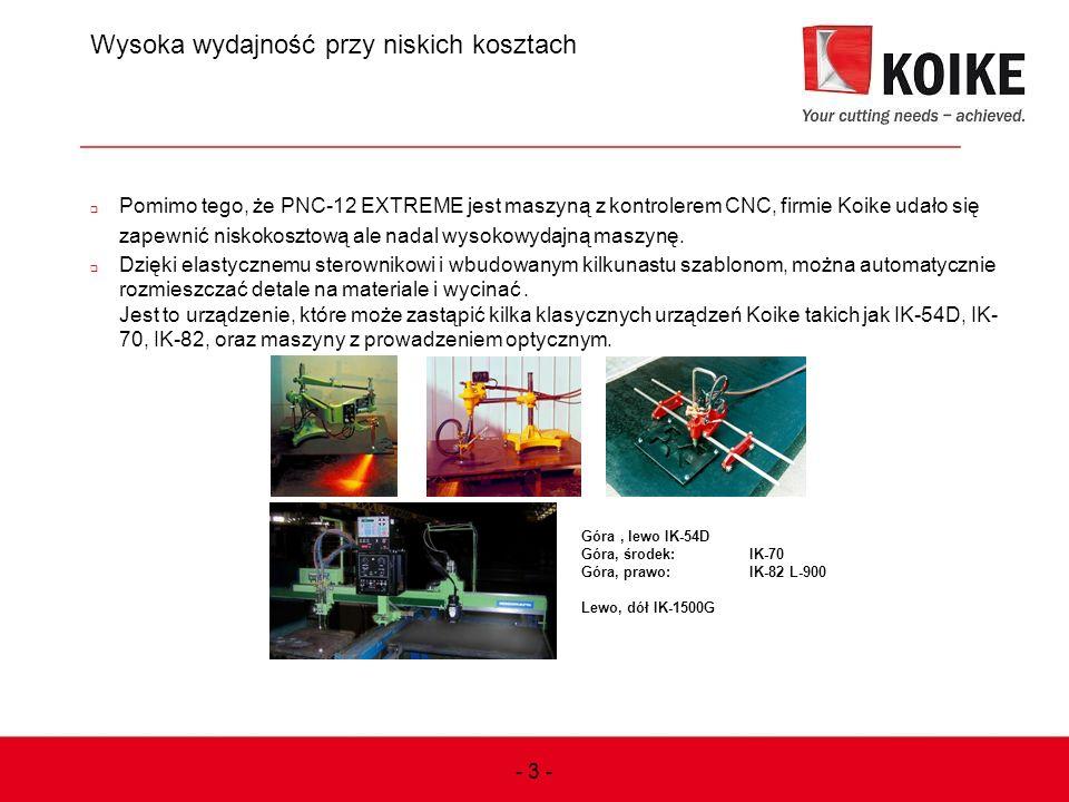Wysoka wydajność przy niskich kosztach  Pomimo tego, że PNC-12 EXTREME jest maszyną z kontrolerem CNC, firmie Koike udało się zapewnić niskokosztową