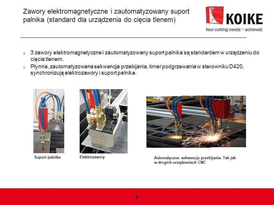 Zawory elektromagnetyczne i zautomatyzowany suport palnika (standard dla urządzenia do cięcia tlenem)  3 zawory elektromagnetyczne i zautomatyzowany