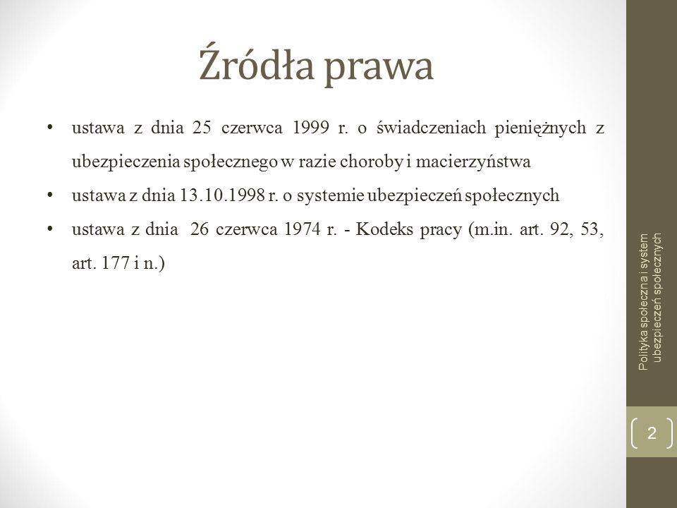 Źródła prawa Polityka społeczna i system ubezpieczeń społecznych 2 ustawa z dnia 25 czerwca 1999 r.
