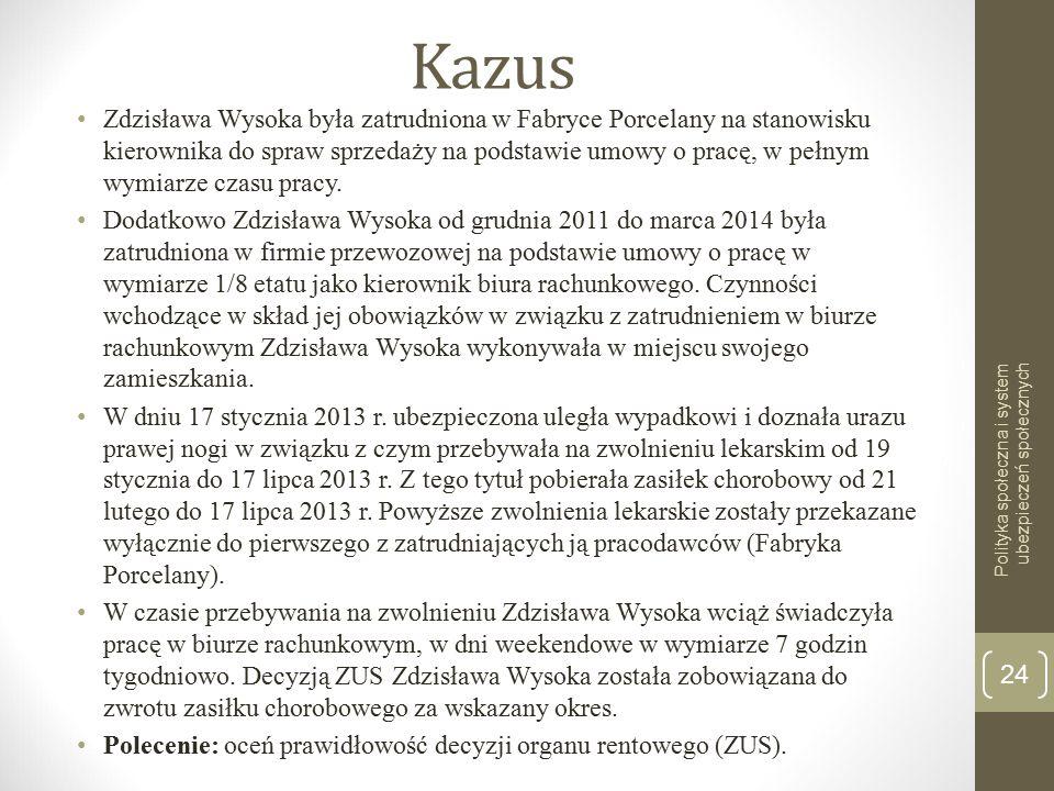 Kazus Zdzisława Wysoka była zatrudniona w Fabryce Porcelany na stanowisku kierownika do spraw sprzedaży na podstawie umowy o pracę, w pełnym wymiarze czasu pracy.