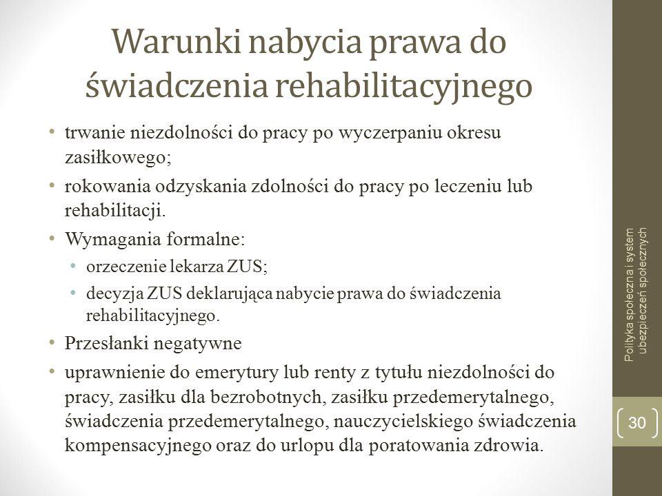 Warunki nabycia prawa do świadczenia rehabilitacyjnego trwanie niezdolności do pracy po wyczerpaniu okresu zasiłkowego; rokowania odzyskania zdolności