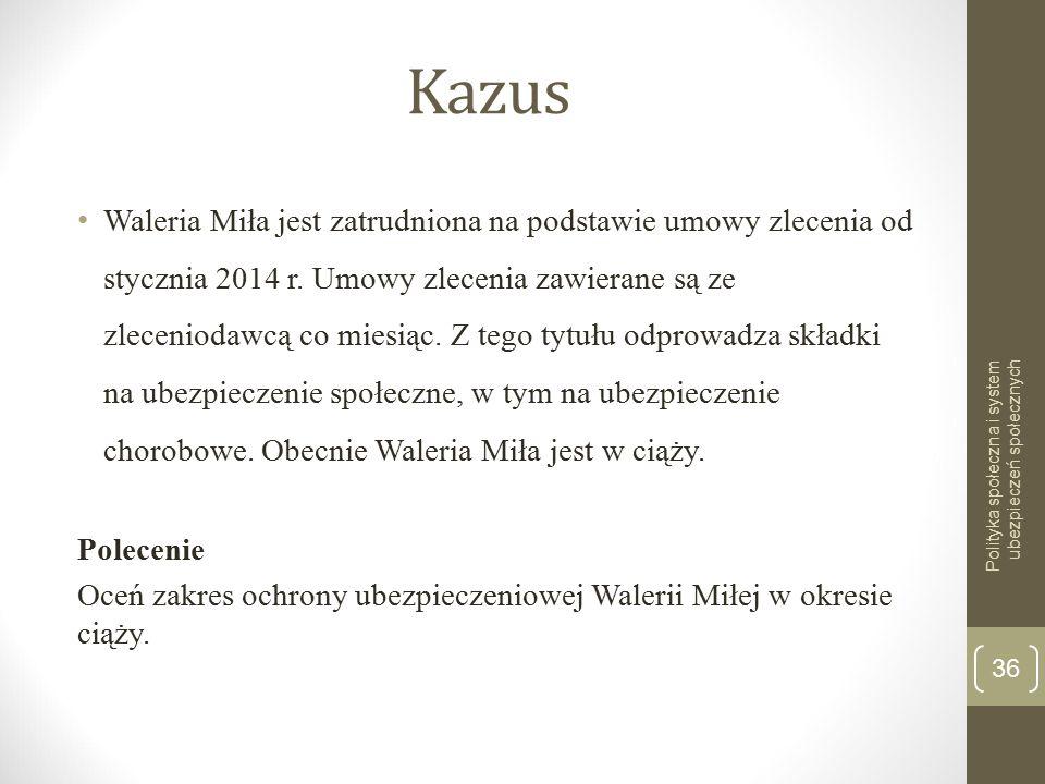 Kazus Waleria Miła jest zatrudniona na podstawie umowy zlecenia od stycznia 2014 r. Umowy zlecenia zawierane są ze zleceniodawcą co miesiąc. Z tego ty