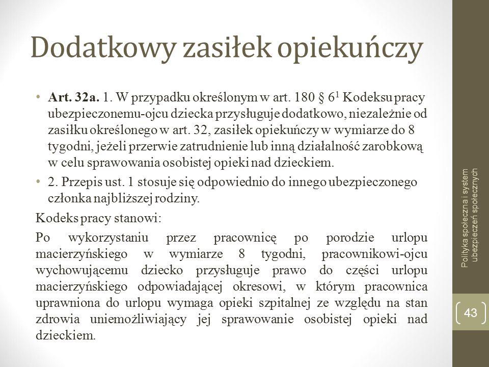 Dodatkowy zasiłek opiekuńczy Art.32a. 1. W przypadku określonym w art.