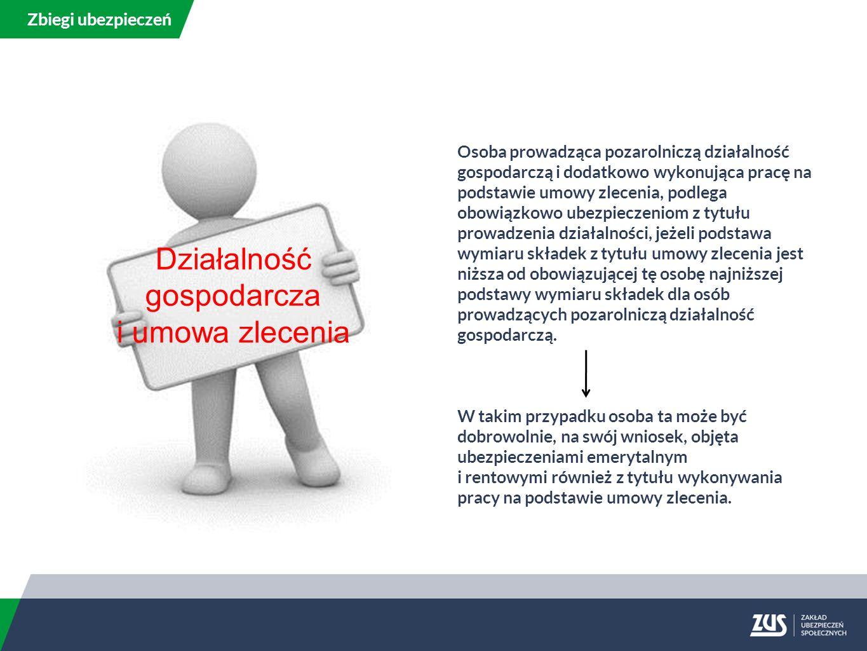 Osoba prowadząca pozarolniczą działalność gospodarczą i dodatkowo wykonująca pracę na podstawie umowy zlecenia, podlega obowiązkowo ubezpieczeniom z tytułu prowadzenia działalności, jeżeli podstawa wymiaru składek z tytułu umowy zlecenia jest niższa od obowiązującej tę osobę najniższej podstawy wymiaru składek dla osób prowadzących pozarolniczą działalność gospodarczą.