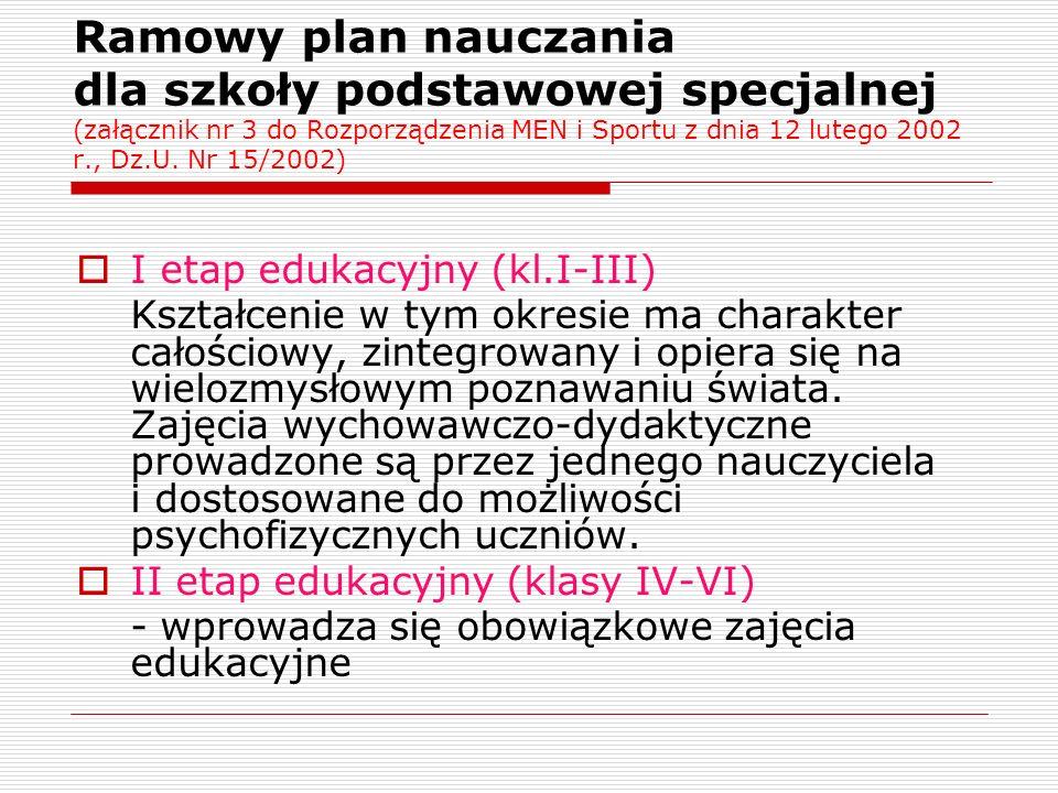 Ramowy plan nauczania dla szkoły podstawowej specjalnej (załącznik nr 3 do Rozporządzenia MEN i Sportu z dnia 12 lutego 2002 r., Dz.U. Nr 15/2002)  I