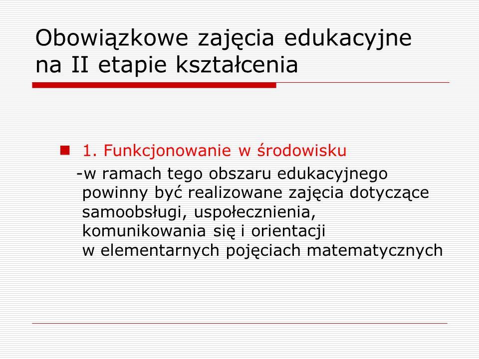 Obowiązkowe zajęcia edukacyjne na II etapie kształcenia 1. Funkcjonowanie w środowisku -w ramach tego obszaru edukacyjnego powinny być realizowane zaj