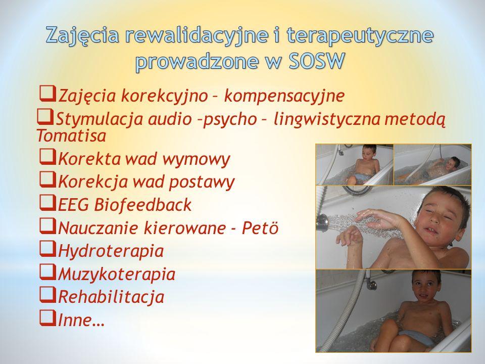  Zajęcia korekcyjno – kompensacyjne  Stymulacja audio –psycho – lingwistyczna metodą Tomatisa  Korekta wad wymowy  Korekcja wad postawy  EEG Biof