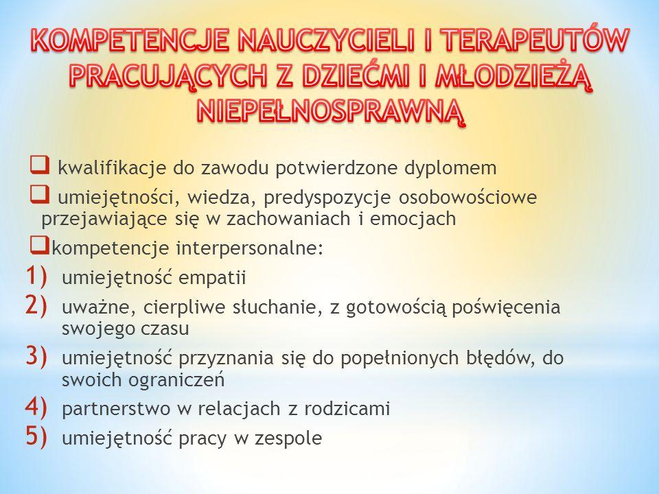  kwalifikacje do zawodu potwierdzone dyplomem  umiejętności, wiedza, predyspozycje osobowościowe przejawiające się w zachowaniach i emocjach  kompe