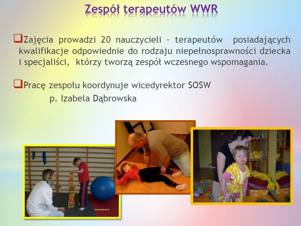  Zajęcia prowadzi 20 nauczycieli – terapeutów posiadających kwalifikacje odpowiednie do rodzaju niepełnosprawności dziecka i specjaliści, którzy twor