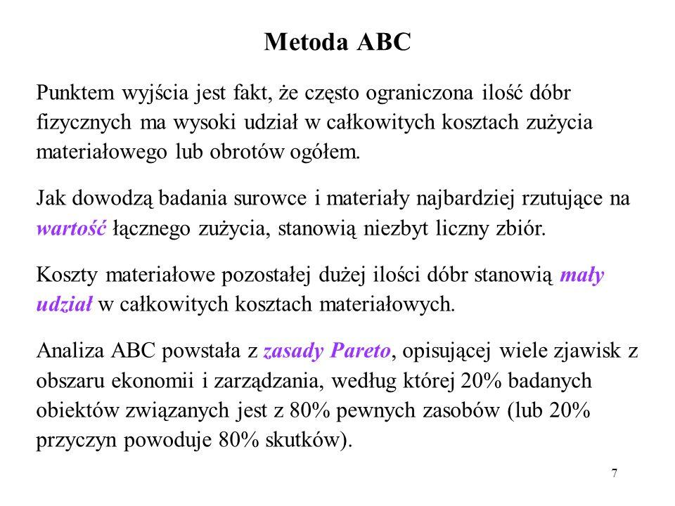 Metoda ABC 7 Punktem wyjścia jest fakt, że często ograniczona ilość dóbr fizycznych ma wysoki udział w całkowitych kosztach zużycia materiałowego lub obrotów ogółem.