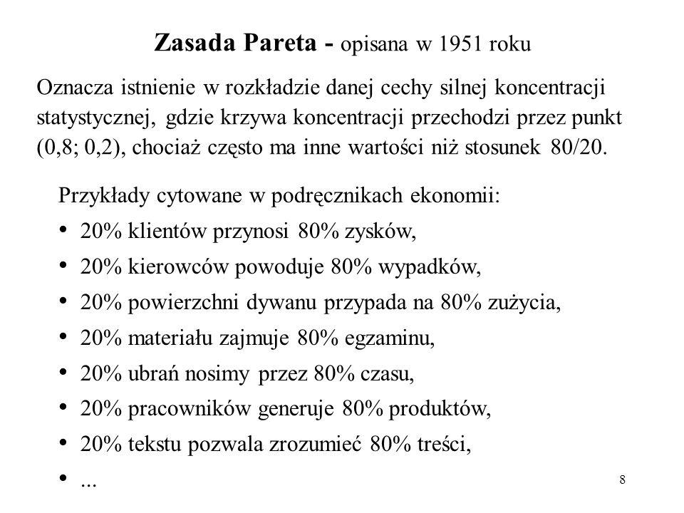 Zasada Pareta - opisana w 1951 roku 8 Oznacza istnienie w rozkładzie danej cechy silnej koncentracji statystycznej, gdzie krzywa koncentracji przechodzi przez punkt (0,8; 0,2), chociaż często ma inne wartości niż stosunek 80/20.