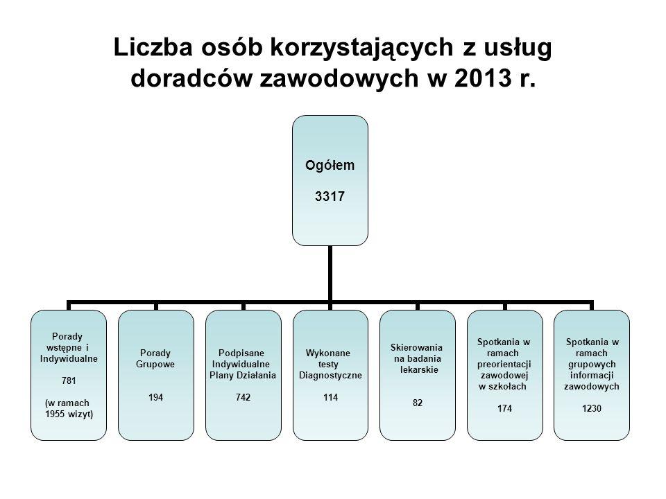 Liczba osób korzystających z usług doradców zawodowych w 2013 r.