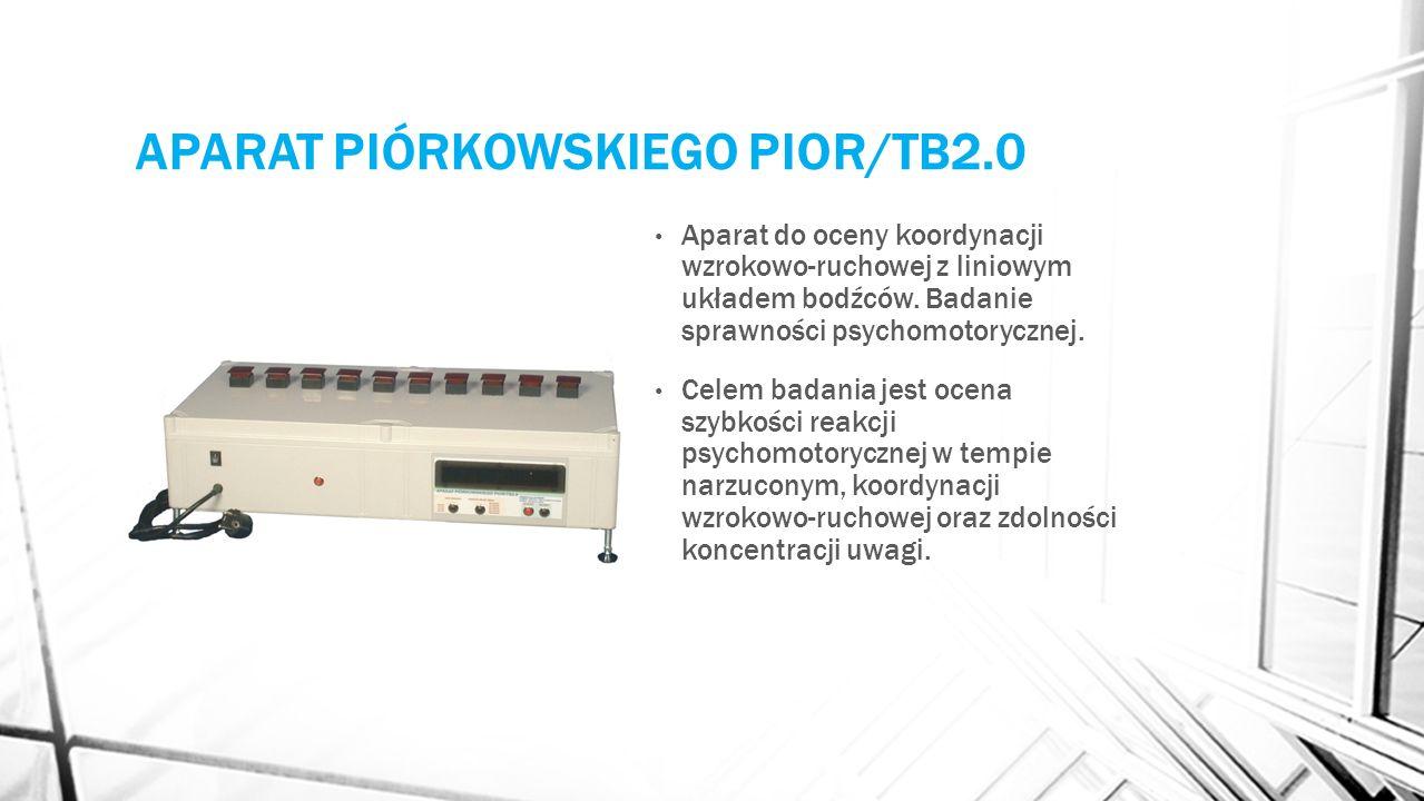 APARAT PIÓRKOWSKIEGO PIOR/TB2.0 Aparat do oceny koordynacji wzrokowo-ruchowej z liniowym układem bodźców. Badanie sprawności psychomotorycznej. Celem