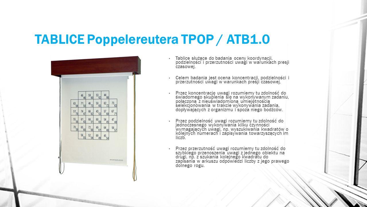 TABLICE Poppelereutera TPOP / ATB1.0 Tablice służące do badania oceny koordynacji, podzielności i przerzutności uwagi w warunkach presji czasowej. Cel