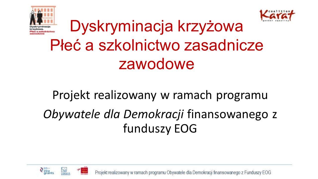 Dyskryminacja krzyżowa Płeć a szkolnictwo zasadnicze zawodowe Projekt realizowany w ramach programu Obywatele dla Demokracji finansowanego z funduszy