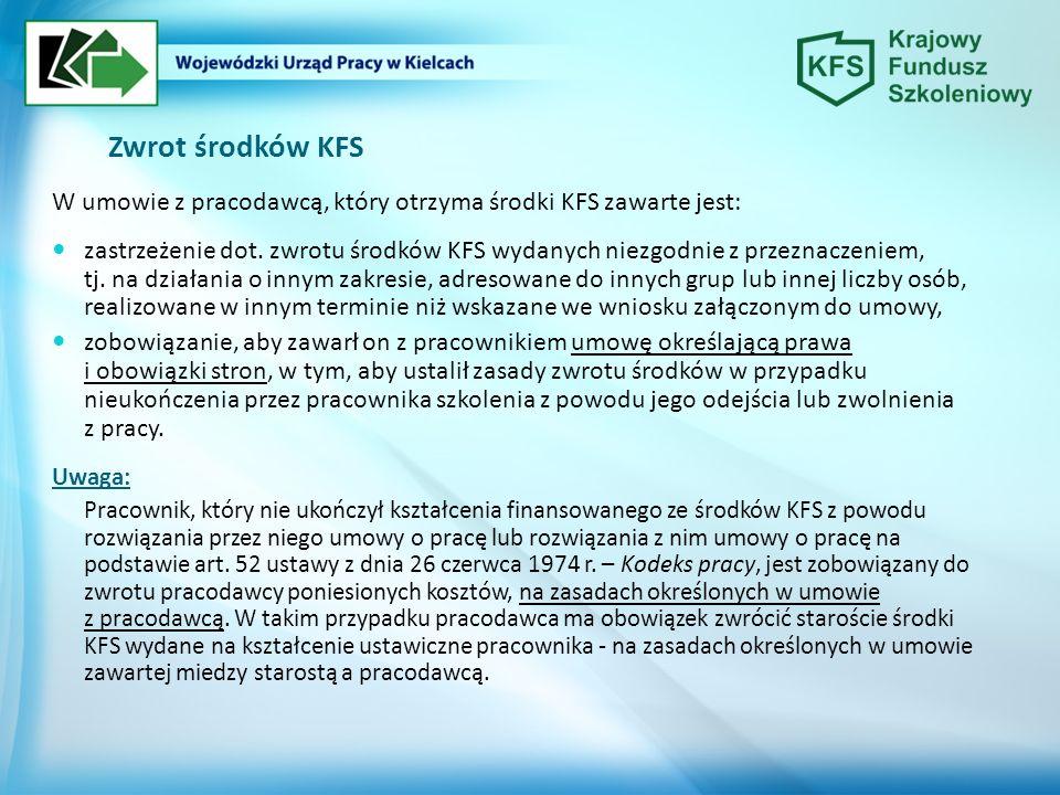 Zwrot środków KFS W umowie z pracodawcą, który otrzyma środki KFS zawarte jest: zastrzeżenie dot.