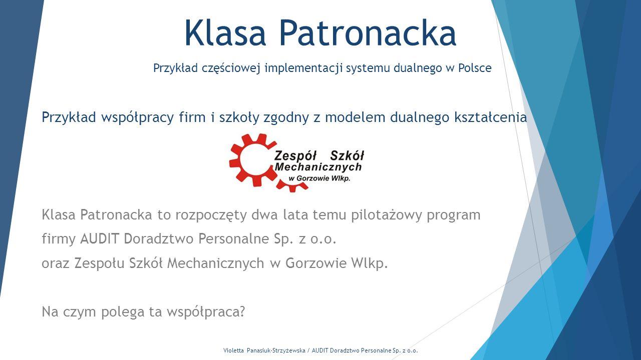 Violetta Panasiuk-Strzyżewska / AUDIT Doradztwo Personalne Sp. z o.o. Klasa Patronacka Przykład współpracy firm i szkoły zgodny z modelem dualnego ksz