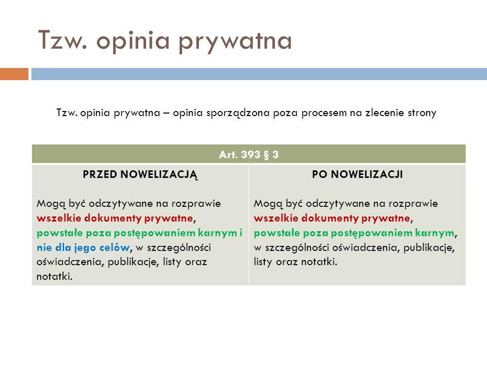 Tzw. opinia prywatna Art. 393 § 3 PRZED NOWELIZACJĄ Mogą być odczytywane na rozprawie wszelkie dokumenty prywatne, powstałe poza postępowaniem karnym