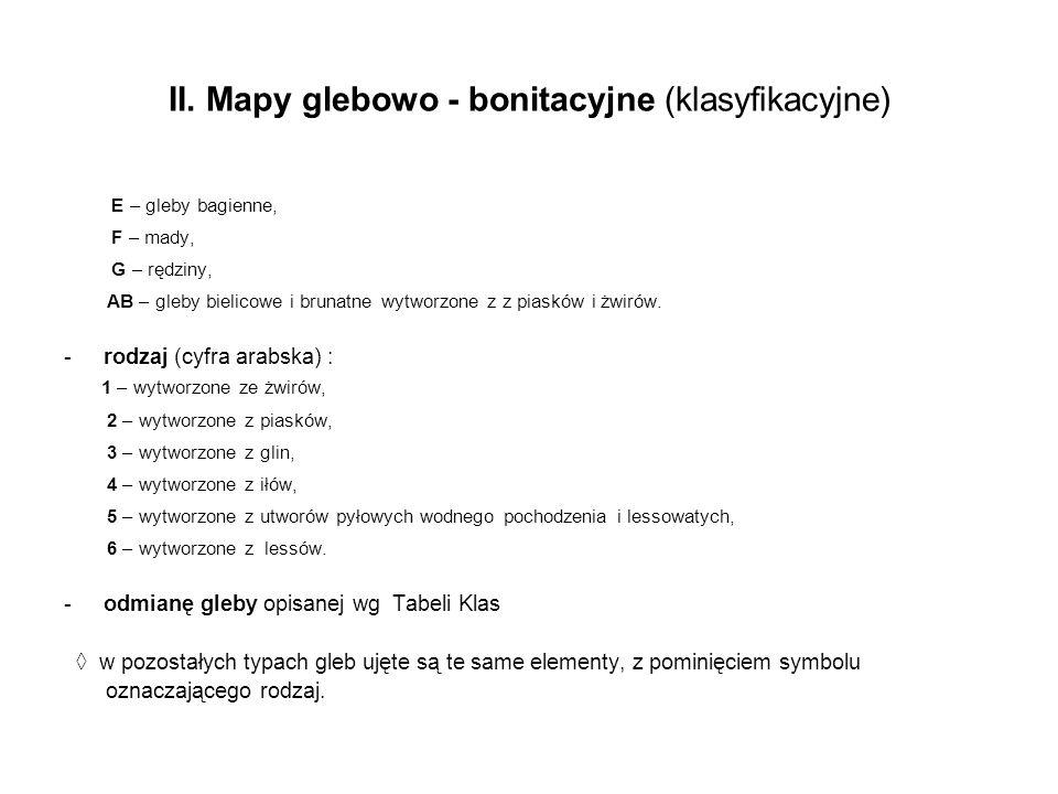 II. Mapy glebowo - bonitacyjne (klasyfikacyjne) E – gleby bagienne, F – mady, G – rędziny, AB – gleby bielicowe i brunatne wytworzone z z piasków i żw
