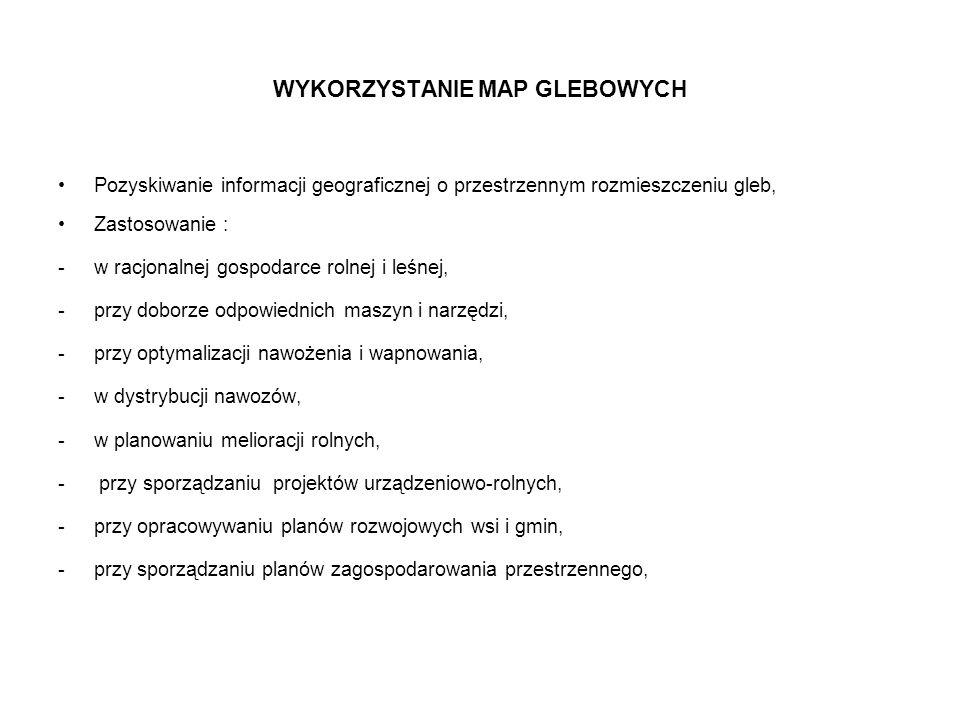 WYKORZYSTANIE MAP GLEBOWYCH Pozyskiwanie informacji geograficznej o przestrzennym rozmieszczeniu gleb, Zastosowanie : -w racjonalnej gospodarce rolnej