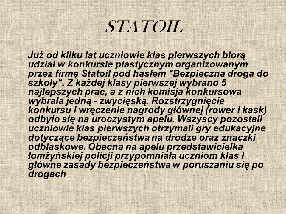 STATOIL Już od kilku lat uczniowie klas pierwszych biorą udział w konkursie plastycznym organizowanym przez firmę Statoil pod hasłem Bezpieczna droga do szkoły .