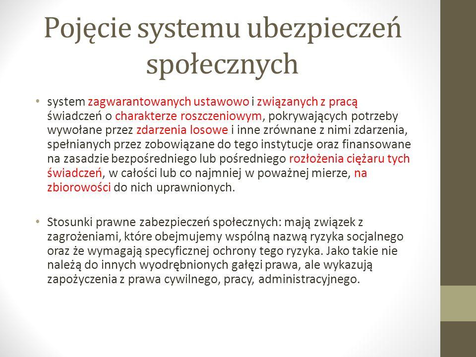 Pojęcie systemu ubezpieczeń społecznych system zagwarantowanych ustawowo i związanych z pracą świadczeń o charakterze roszczeniowym, pokrywających pot