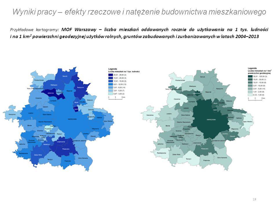Wyniki pracy – efekty rzeczowe i natężenie budownictwa mieszkaniowego Przykładowe kartogramy: MOF Warszawy – liczba mieszkań oddawanych rocznie do użytkowania na 1 tys.