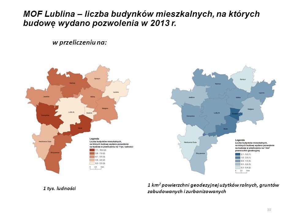 MOF Lublina – liczba budynków mieszkalnych, na których budowę wydano pozwolenia w 2013 r.