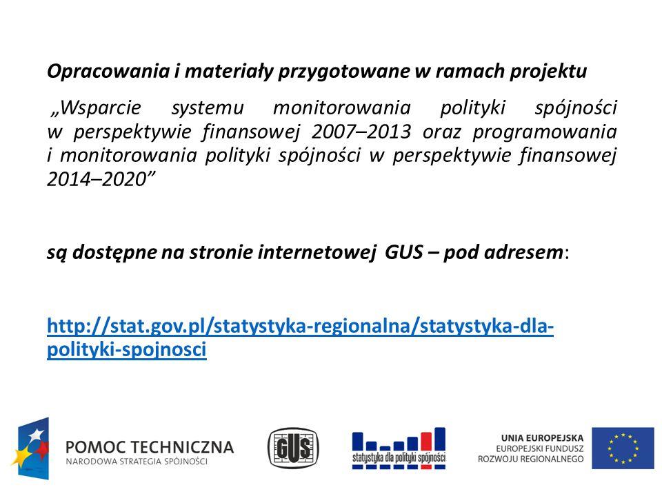 """Opracowania i materiały przygotowane w ramach projektu """"Wsparcie systemu monitorowania polityki spójności w perspektywie finansowej 2007–2013 oraz programowania i monitorowania polityki spójności w perspektywie finansowej 2014–2020 są dostępne na stronie internetowej GUS – pod adresem: http://stat.gov.pl/statystyka-regionalna/statystyka-dla- polityki-spojnosci"""