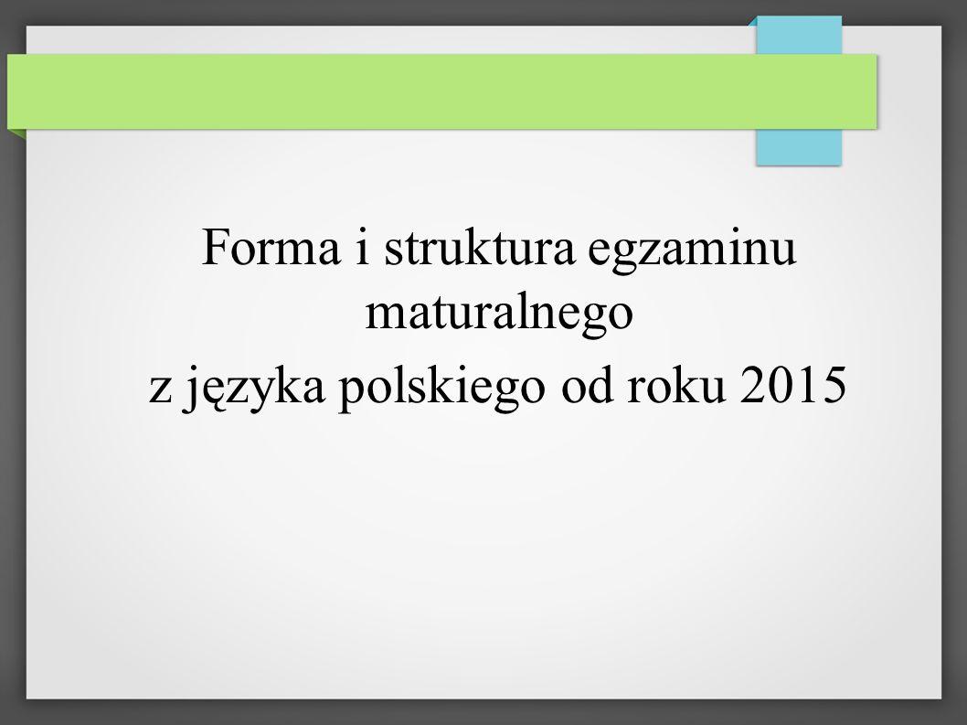 Egzamin z języka polskiego - struktura Część pisemna - test (rozumienie czytanego tekstu) Wypracowanie 170 minut Część ustna - - monologowa wypowiedź - rozmowa z komisją