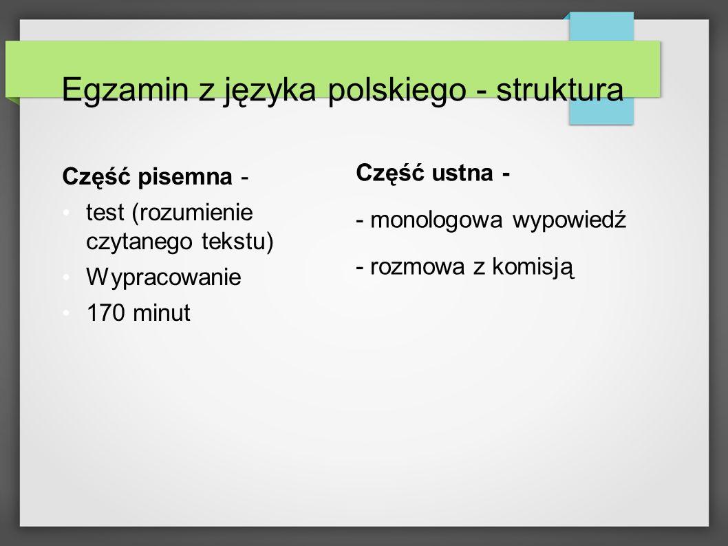 Egzamin z języka polskiego - struktura Część pisemna - test (rozumienie czytanego tekstu) Wypracowanie 170 minut Część ustna - - monologowa wypowiedź