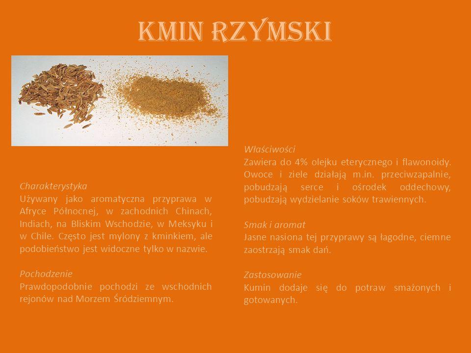 Kmin rzymski Charakterystyka Używany jako aromatyczna przyprawa w Afryce Północnej, w zachodnich Chinach, Indiach, na Bliskim Wschodzie, w Meksyku i w Chile.