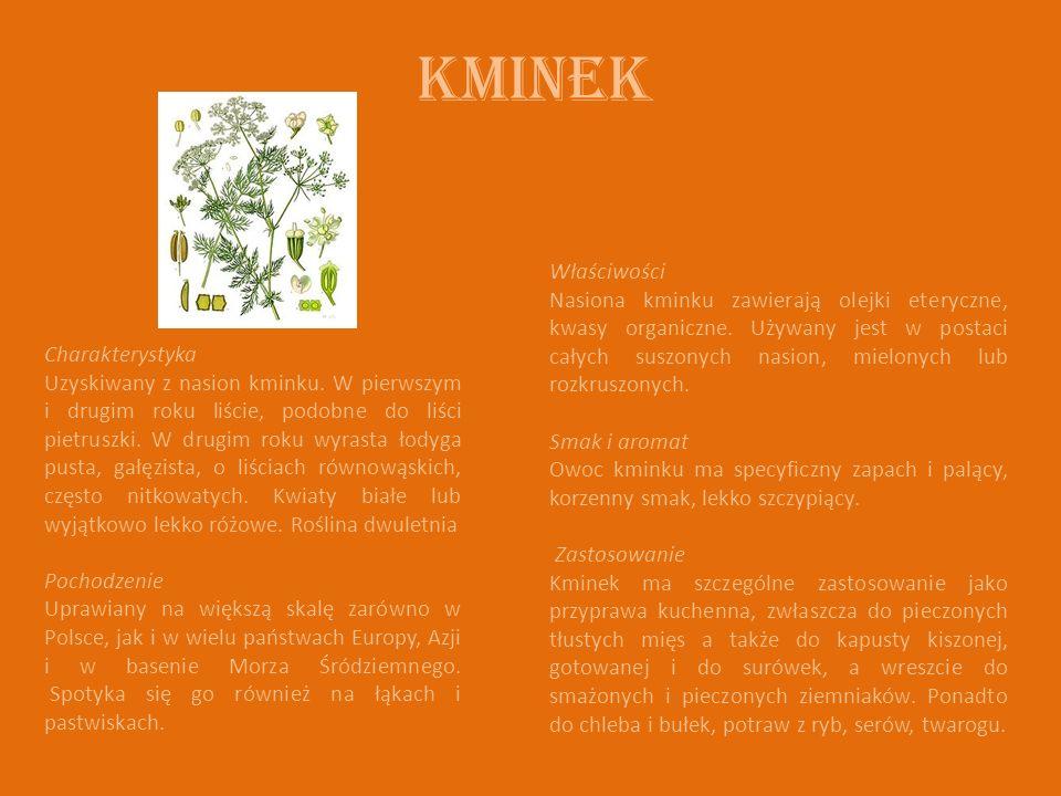 Kminek Charakterystyka Uzyskiwany z nasion kminku. W pierwszym i drugim roku liście, podobne do liści pietruszki. W drugim roku wyrasta łodyga pusta,
