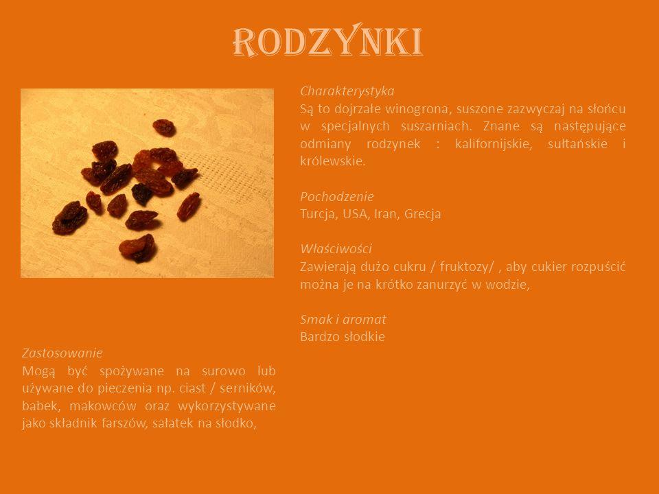 Rodzynki Charakterystyka Są to dojrzałe winogrona, suszone zazwyczaj na słońcu w specjalnych suszarniach. Znane są następujące odmiany rodzynek : kali