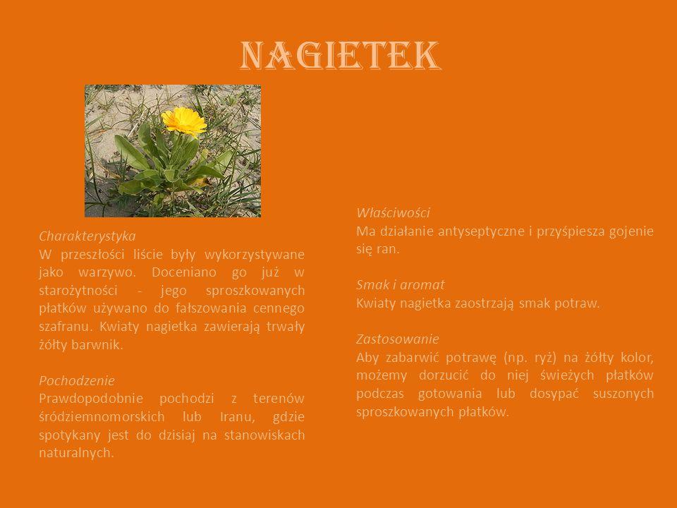 Nagietek Charakterystyka W przeszłości liście były wykorzystywane jako warzywo.