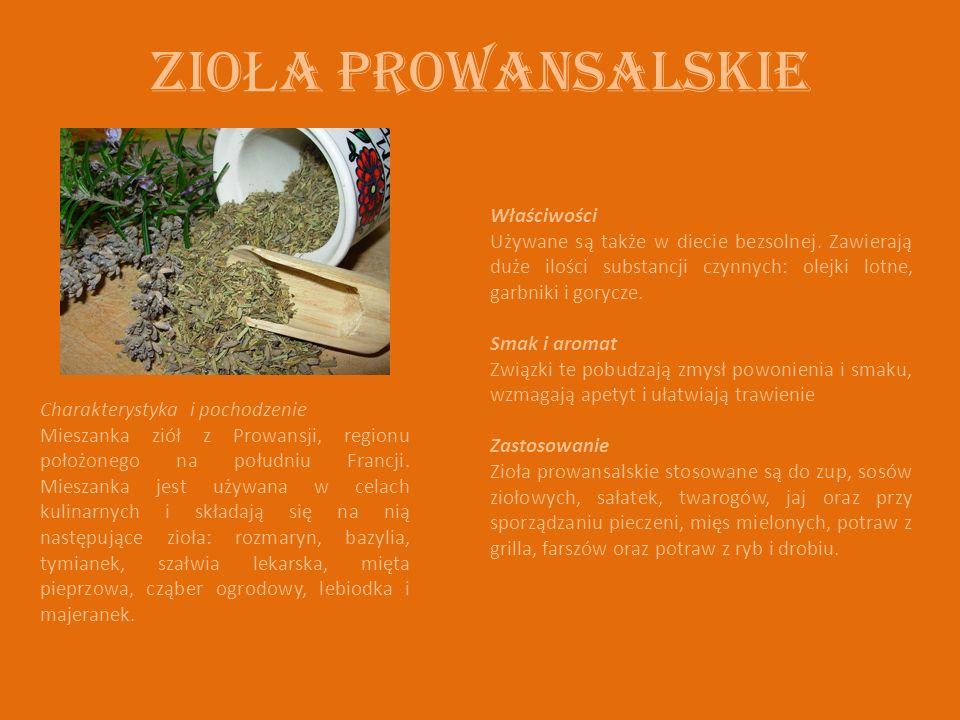Zio Ł a prowansalskie Charakterystyka i pochodzenie Mieszanka ziół z Prowansji, regionu położonego na południu Francji. Mieszanka jest używana w celac